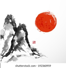Mountains and big red sun. Traditional Japanese style sumi-e. Vector illustration.
