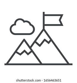mountains black line icon on white background