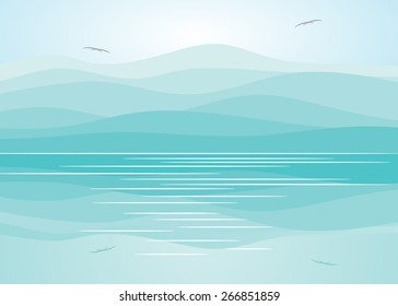 Mountains of blue color, couple of birds and reflection in water