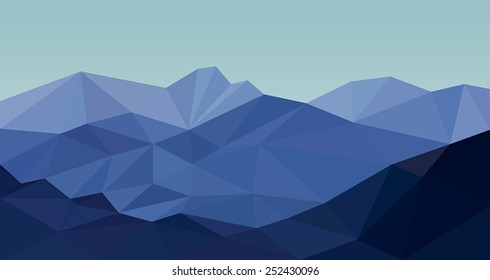 Mountains blue in low poly design style