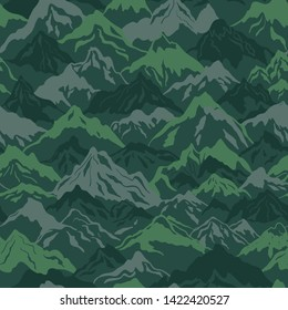 Mountains camouflage vector seamless pattern in green color. Perfect for fabrics and wallpapers