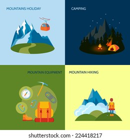 Mountains camping icons flat set with holiday equipment hiking isolated vector illustration