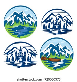 Mountains in a circle logo