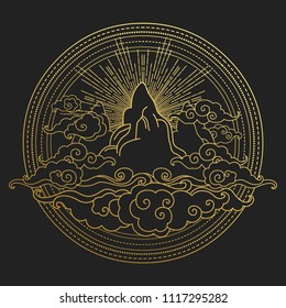 Mountains in clouds. Decorative graphic design element in oriental style. Vector hand drawn illustration