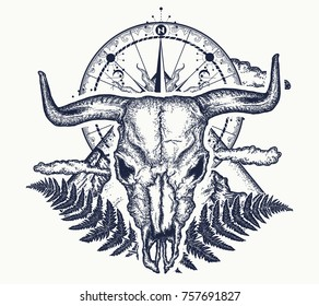 Mountains, compass and bull skull tattoo and t-shirt design. Symbol of tourism, rock climbing, camping