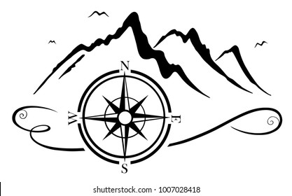 Mountains with compass. Suitable for hikers and mountaineers.