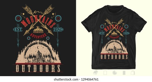 Mountains and crossed arrows. Print for t-shirts and another, trendy apparel design. Outdoors art. ymbol travel, tourism, extreme sports and rock climbing