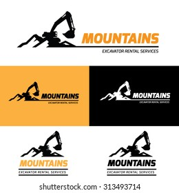 Mountains Excavator Vector Logo Template.
