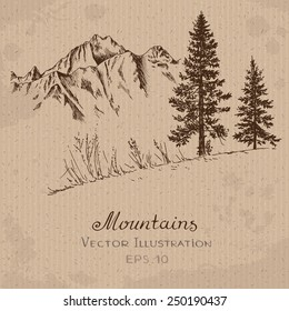 Mountains and Fir Tree. Hand drawn Vector Illustration