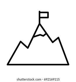 Mountains with flag on peak line icon. Goal achievement outline symbol. Success pictogram in outline style. Vector