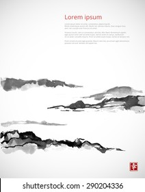 "Mountains in fog hand drawn with ink in traditional Japanese painting style sumi-e on white background. Contains hieroglyph ""happiness"". Vector illustration."