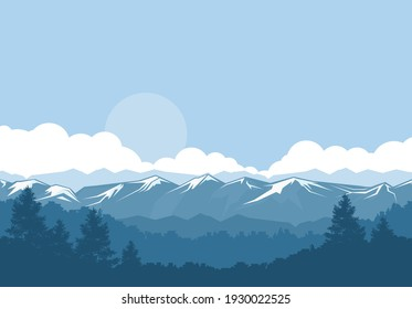 Mountains and forest, foggy landscape with snow-covered rock peaks, vector