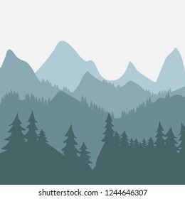 Mountains and forest landscape. Panoramic view of the mountain landscape. Mountain landscape on the background, hills skyline. Vector illustration.