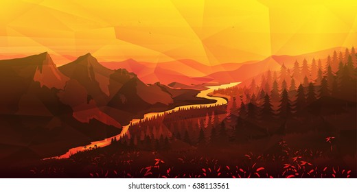 Mountains and forest polygonal background for game, wallpaper etc.