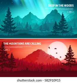 Mountains and forest. Wild nature landscape. Travel and adventure.Panorama. Into the woods. Horizon line.Trees,fog fog.