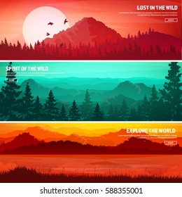 Mountains and forest. Wild nature landscape. Travel and adventure.Panorama. Into the woods. Horizon line.Trees,fog,wood.Backgrounds set.Lake or river.