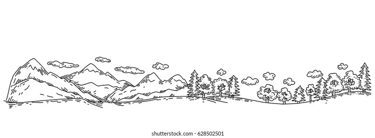 Mountains and forests, panorama of linear graphics, sketch lines, engraving style