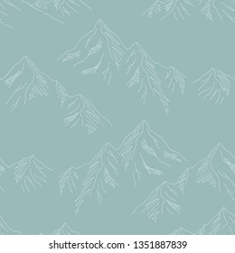 Mountains graphic seamless pattern landscape background sketch illustration vector