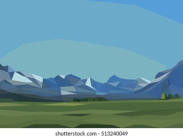 mountains and green field landscape