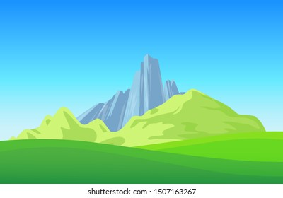 Mountains with Green Field on landscape wallpaper. Alpine Mountains in cartoon style - Vector illustration with scenic Rocks and Copy Space at top.