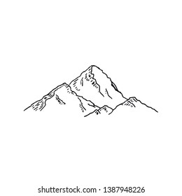 Mountains. Hand drawn rocky peaks. Vector illustration - Vector illustration