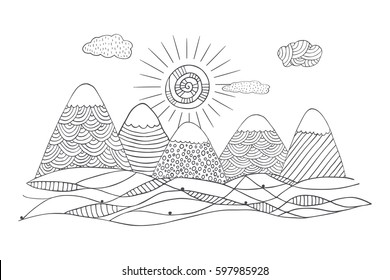 Mountains in hand drawn style with cute sun and clouds. Vector landscape in black and white.