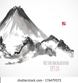 Mountains, hand-drawn with ink in traditional Japanese style sumi-e. Vector illustration.