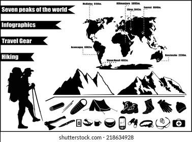 Mountains hiking infographics with icons and elements. The highest peaks in the world.
