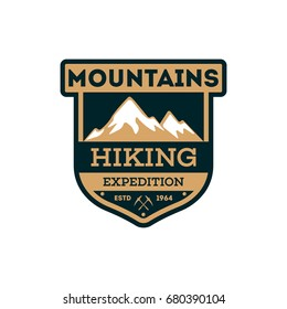 Mountains hiking vintage isolated badge. Outdoor explorer sign, touristic expedition label, nature climbing vector illustration