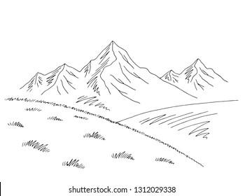 Mountains hill graphic black white landscape sketch illustration vector