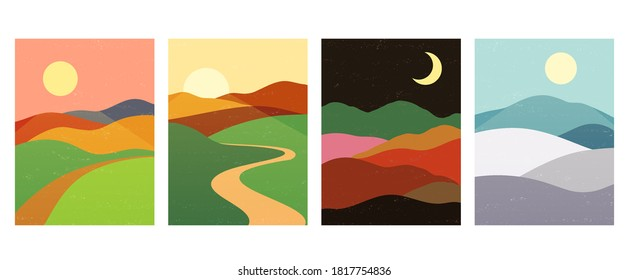 Berge Berge mit Sonnenuntergang, Sonnenaufgang, Nacht. Abstrakte minimalistische Landschaftshintergründe im skandinavischen Stil.