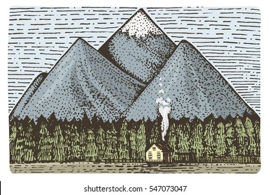 mountains with house and forest engraved, hand drawn vector illustration in woodcut scratchboard style, vintage drawing lable.