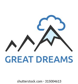 Mountains, ice and cloud logo template. EPS 10 vector illustration, no transparency