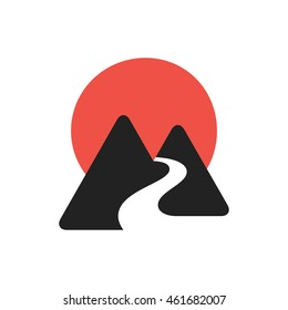 Mountains icon with river and sun.