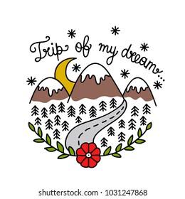 mountains illustration traditional tattoo flash