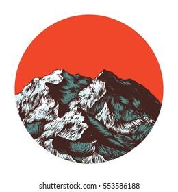 Mountains. Japan nature. Hand drawn vector illustration
