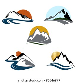 Mountains and landscape emblems set