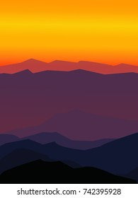 Mountains landscape flat vector illustration.