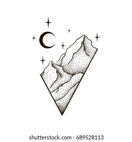 Mountains landscape with forest, moon and stars. Hand drawn vintage vector Dotwork Illustration. Graphic sketch for tattoo, poster, clothes, t-shirt design, pins, badges, stickers and coloring book