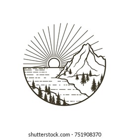 Mountains landscape with forest, sun and sea or ocean. Hand drawn vintage vector Outline Illustration. Graphic sketch for tattoo, poster, clothes, t-shirt design, pins, stickers and coloring book