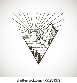 Mountains landscape with forest, sun and sea or ocean. Hand drawn vintage vector Dotwork Illustration. Graphic sketch for tattoo, poster, clothes, t-shirt design, pins, stickers and coloring book