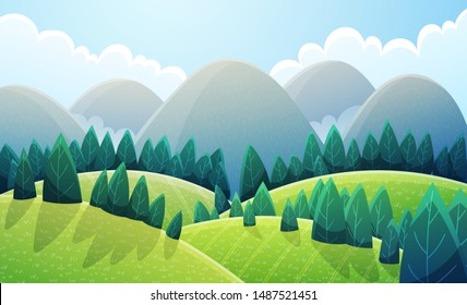 Mountains landscape with light green rounded hills and stylized pine trees. Summer scenery with green colors. Vector illustration background.