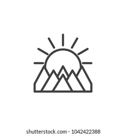 Mountains landscape on sunset outline icon. linear style sign for mobile concept and web design. The sun is behind mountains simple line vector icon. Symbol, logo illustration.