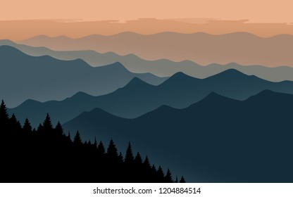Mountains landscape with orange sky silhouettes of mountains. peaceful hill. vector illustration with copy space.