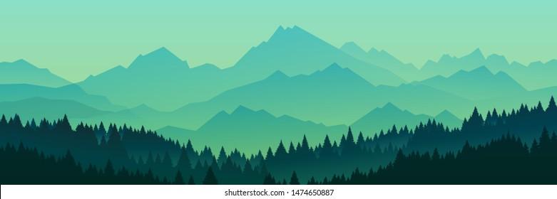 Mountains Landscape. Rural nature background. Hills skyline