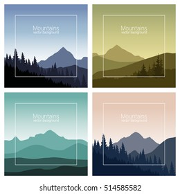 Mountains landscape set. Nature backgrounds in different colors. Vector illustration.