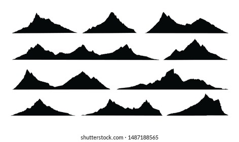 Mountains landscape silhouette. Abstract high mountain hike landscape.   Vector set.