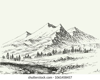 Mountains landscape sketch. River flow and alpine vegetation hand drawing