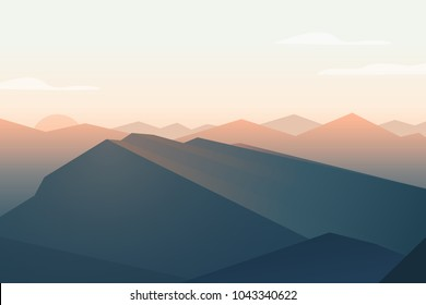 Mountains landscape. Sunset