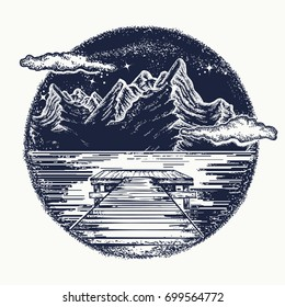 Mountains landscape tattoo and t-shirt design. Mystical symbol of tourism, dream, camping, travel